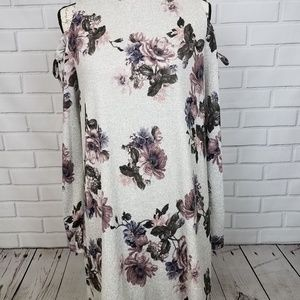 Grey Floral Printed Cold Shoulder Dress